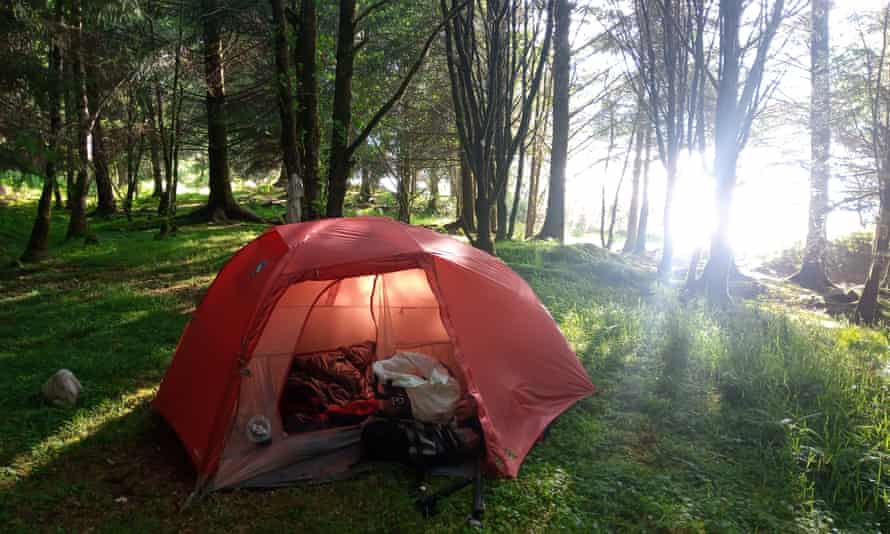 tent on loch shore among trees