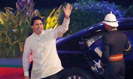 Canada's prime minister, Justin Trudeau, arrives in a traditional barong for a welcome dinner during the Asia-Pacific Economic Cooperation (Aped) summit in the Philippine capital, Manila, on Wednesday.