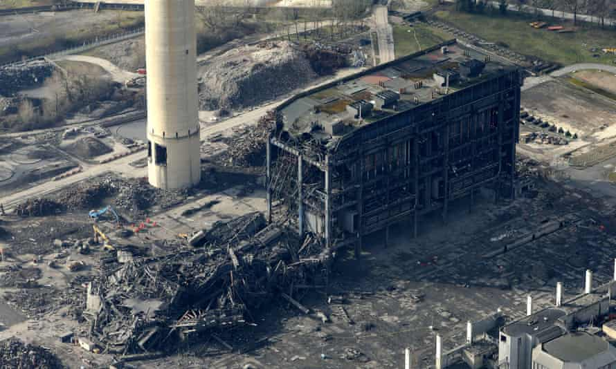 An aerial view of the Didcot power station collapse