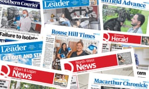 Front pages of various regional Australian newspapers set to close
