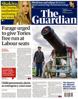 Guardian front page, Tuesday 12 November 2019