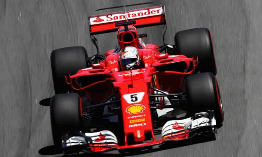 Sebastian Vettel puts his Santander-sponsored Ferrari Formula One car through its paces in Brazil.