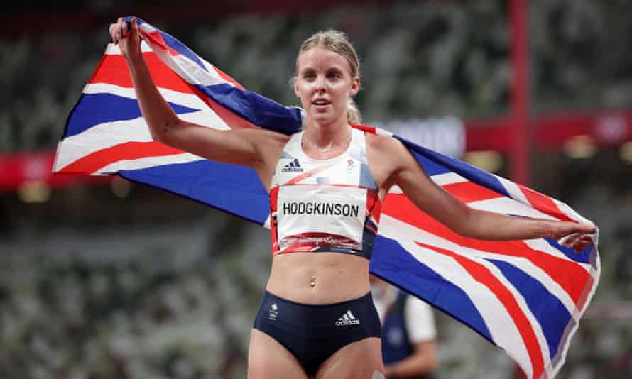 Keely Hodgkinson after winning silver in the women's 800m