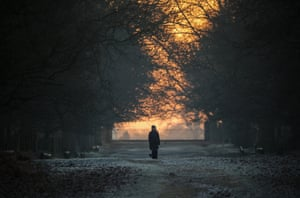 A dog walker braves the chilly temperatures at the National Trust's Dunham Massey Park in Altrincham