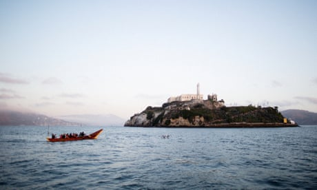Native American canoes circle Alcatraz to honor 50 years since occupation – in pictures