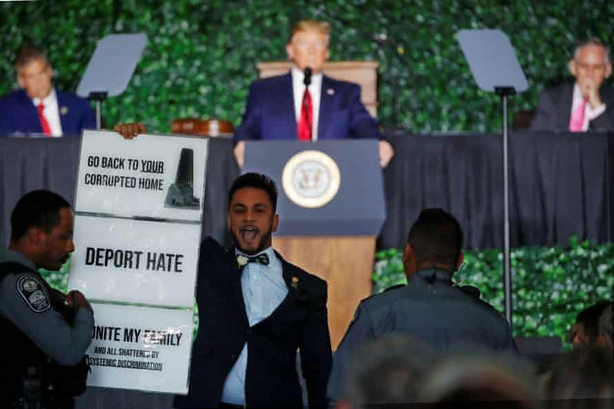 A protester interrupts Trump's speech in Jamestown, Virginia.