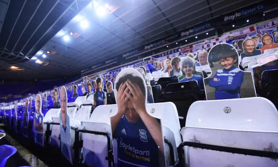 A cutout of a dejected Birmingham fan at St Andrew's Trillion Trophy Stadium.