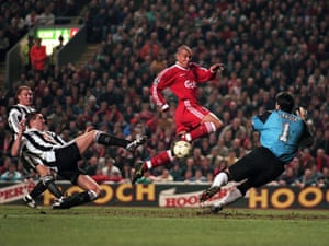Collymore scores the third equalising goal for Liverpool.