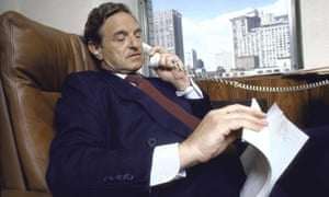 George Soros on the phone in his office in 1986, two years after his first pro-democracy foundation was set up, in Hungary.