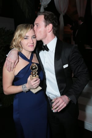 Kate Winslet and Michael Fassbender at NBC Universal's after party.
