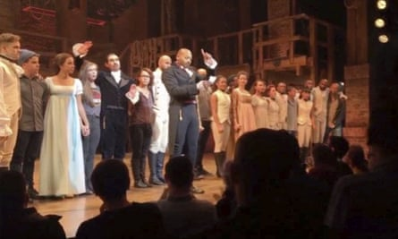 Brandon Victor Dixon who plays Aaron Burr in Hamilton address Vice-President-elect Mike Pence from the stage after the curtain call in New York last Friday.