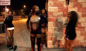 Nigerian women working as prostitutes in Turin, Italy.