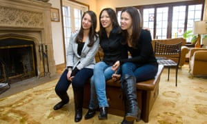 Self-styled Tiger Mother Amy Chua with daughters Lulu, left, and Sophia.