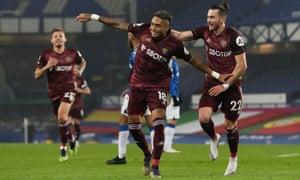 Leeds United's Raphinha celebrates scoring the opening goal.