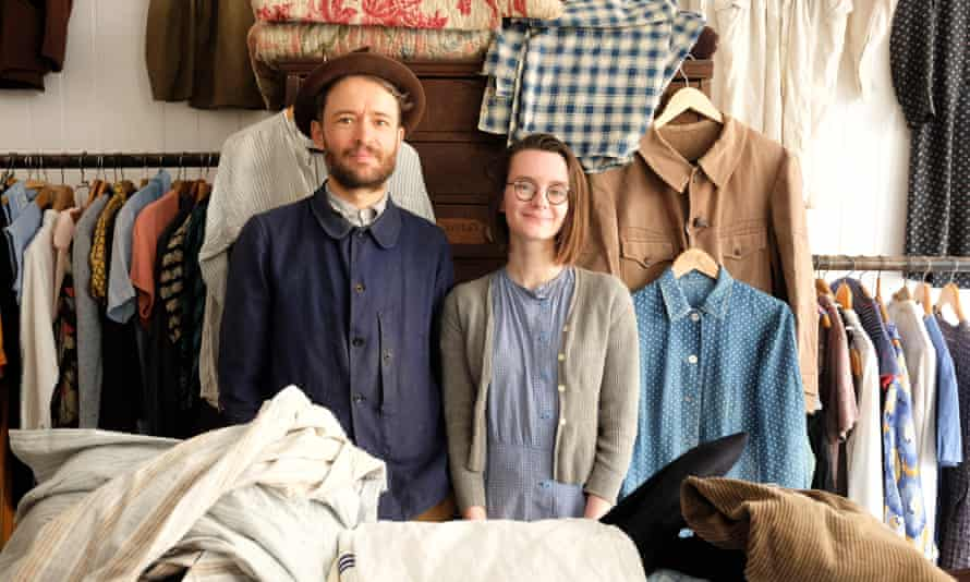 Adam Freeman and Rebecca Merrill in their Sunless Antiques store in St Leonards-on-Sea.