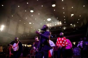 Worshippers dance during 'Super Sunday' service at the House of Praise church