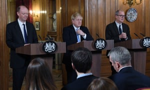 Boris Johnson is flanked by Prof Chris Whitty (left) and Patrick Vallance at a press conference about coronavirus at No 10 today.