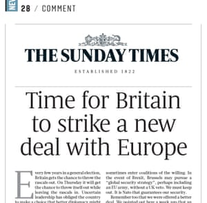 Sunday Times editorial calling for Britain to leave the EU.