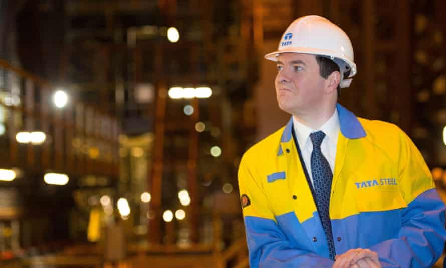 George Osborne on a visit to the Tata Steel factory in Port Talbot, South Wales. 'There are problems in the engine-room of the UK economy.'