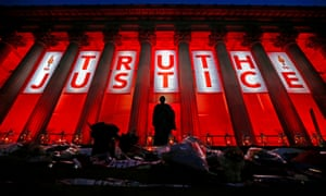 St George's Hall in Liverpool illuminated following a service to mark the outcome of the Hillsborough inquest