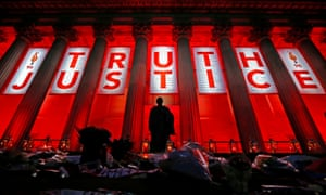 St George's Hall in Liverpool lit up after the inquest verdict was delivered