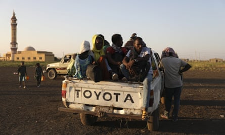 Refugees arriving in the Qadarif region, eastern Sudan.