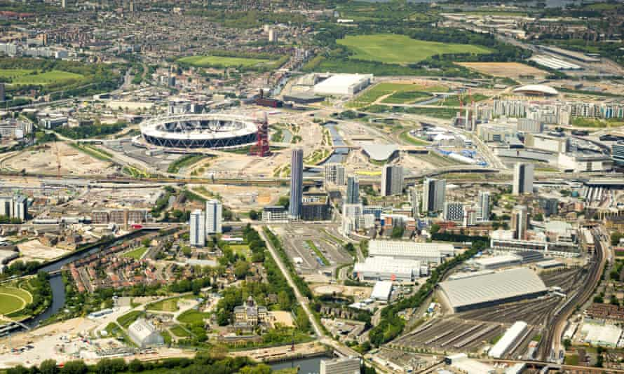 Olympic hopeful … aerial view of Stratford and Queen Elizabeth Olympic Park.