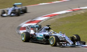 A familiar sight: Lewis Hamilton leads his Mercedes team-mate Nico Rosberg at the Shanghai International Circuit.