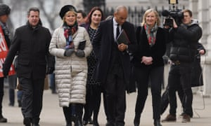 Conservative MPs Anna Soubry (2L) and Sarah Wollaston (2R)with Labour MPs Chris Leslie (L), Luciana Berger (3L) and Chuka Umunna (3R) as they arrived at the Cabinet Office for cross-party Brexit talks with Theresa May's Chief of Staff Gavin Barwell and the Cabinet Office minister David Lidington.