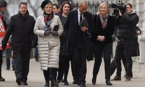 Remain-supporting MPs (from left) Chris Leslie, Anna Soubry, Luciana Berger, Chuka Umunna and Sarah Wollaston arrive at the Cabinet Office ahead of a Brexit meeting on Monday.