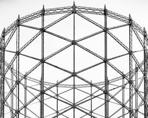 A gas holder tower in Hornsey, London by photographer Martin Chivers.