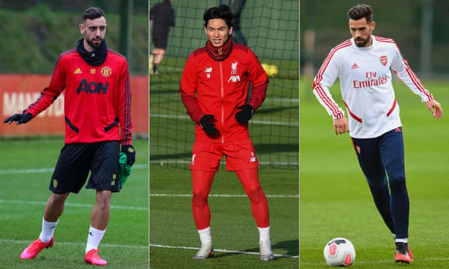 Manchester United's Bruno Fernandes, Takumi Minamino of Liverpool and Arsenal's Pablo Mari. Photographs by Getty Images
