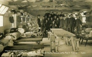 Barrack Hut at Wodecote Farm Park Camp, Epsom. The photo was taken in 1915 before the soldiers went off to France to fight in the Battle of the Somme.