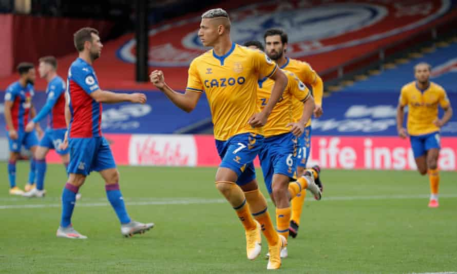 Richarlison celebrates after scoring from the penalty spot for Everton's second goal in their 2-1 win at Crystal Palace.