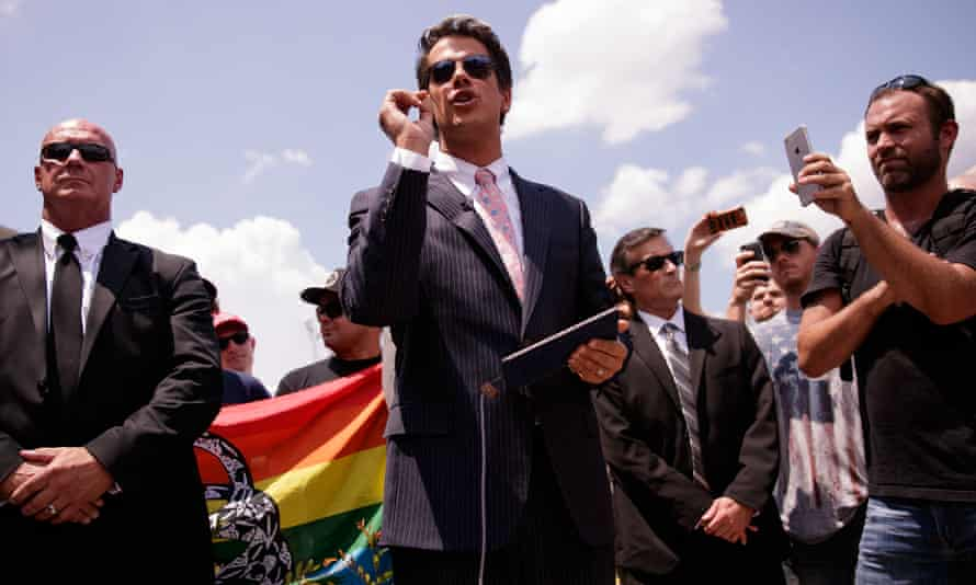 Milo Yiannopoulos, centre, at a press conference following the Orlando terror attack last June.