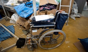 An undelivered wheelchair at a sorting office in Jericho