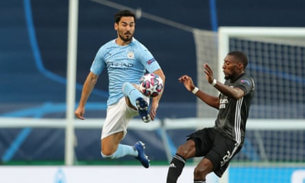 Ilkay Gündogan in action during Manchester City's Champions League quarter-final against Lyon in August.