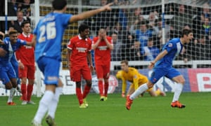 Hartlepool scoring against Leyton Orient