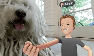 Mark Zuckerberg showcasing the power of social VR with a giant video of his dog.
