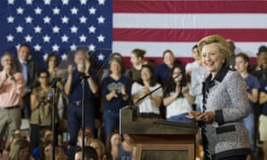Hillary Clinton at a campaign rally in Pittsburgh earlier on Tuesday.