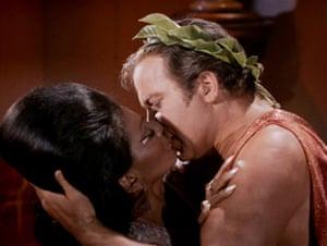 Nichelle Nichols and William Shatner in Star Trek.