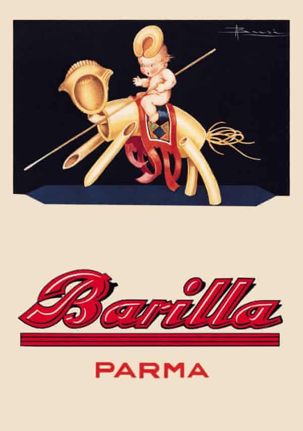 Vintage Barilla poster:  To horse! Calendar Adolfo Busi 1931