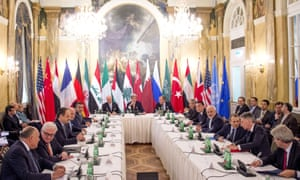 Delegates from 19 nations at Syria peace talks in Vienna.