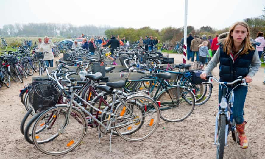 Bicycles by beach in the resort town of Renesse