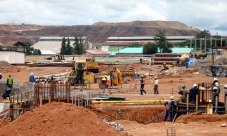 Workers constructing the copper smelter