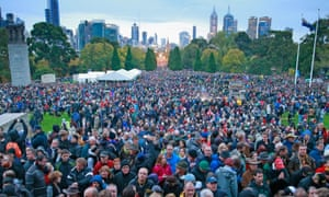 The crowd at an Anzac Day service in Melbourne on 25 April 2015.