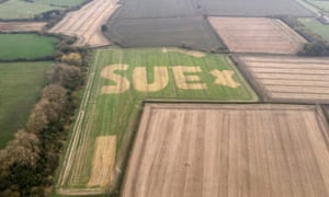 Image of the message 'SUE x' written in a field by farmer Murray Graham