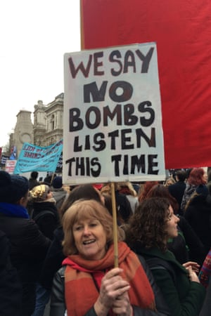 Lois Davis with her placard