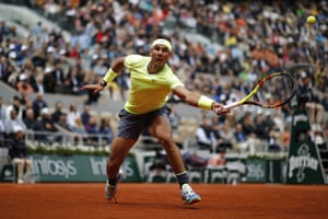 Rafael Nadal stretches for a shot.