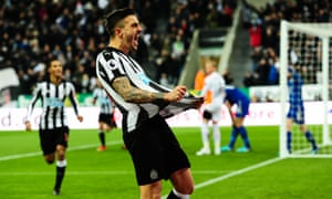 Joselu celebrates after scoring the opening goal for Newcastle with just four minutes gone.